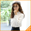 New Han Fan long - sleeved loose lapel embroidered white shirt female college fresh small base shirt #4242