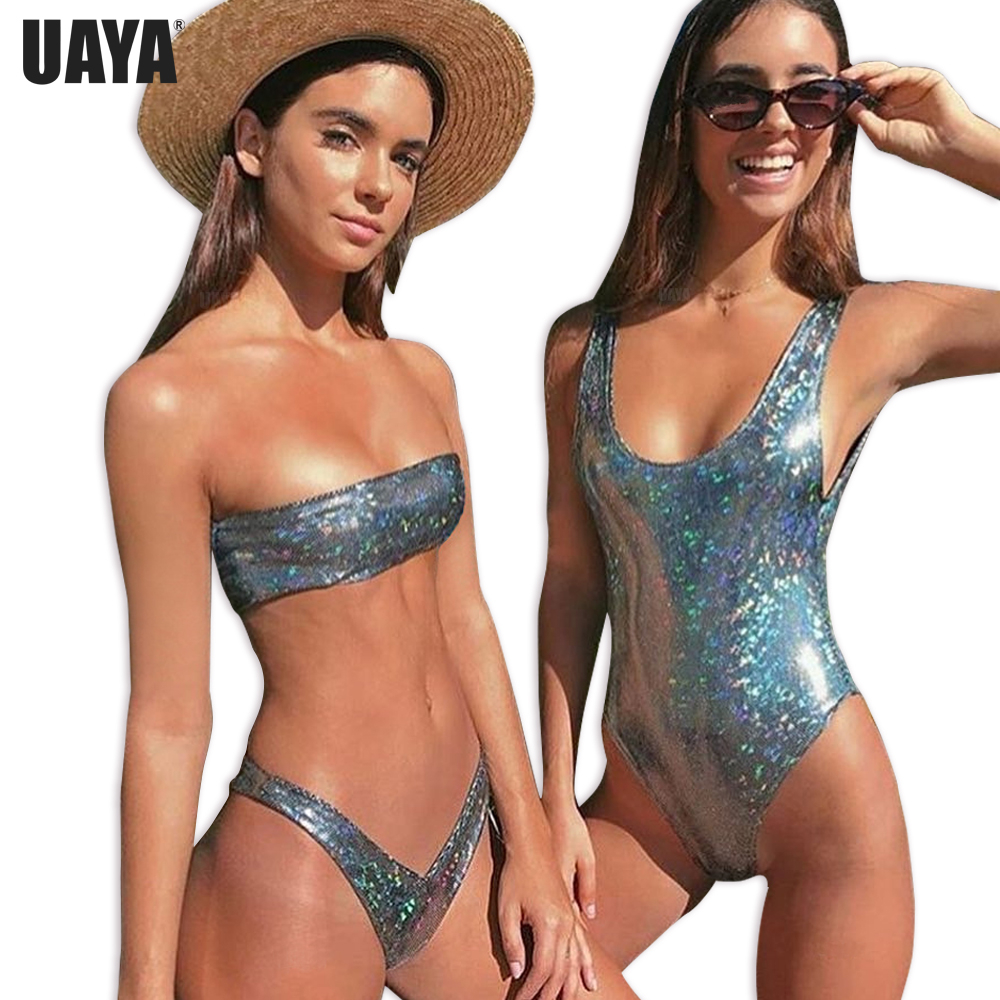 d3919b79ba UAYA 2019 Sexy bling Silver monokini bikini thong swimsuit Backless one  Piece Swimsuits Female Women Swimwear Brazilian Biquini