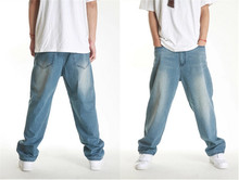 2015 New Street Tide Mens Baggy Jeans Hip Hop Long Trousers Leisure Relaxed Skateboard Denim Pants Plus Size 28~42