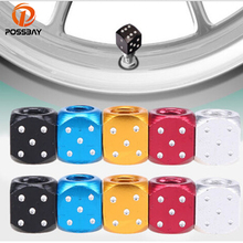 цена POSSBAY 10X Aluminum Auto Wheel Stem Tyre Air Valve Dustproof Cap Dice Tire Tyre Valve Caps Bike MTB Truck Tire Valve Dust Cap онлайн в 2017 году