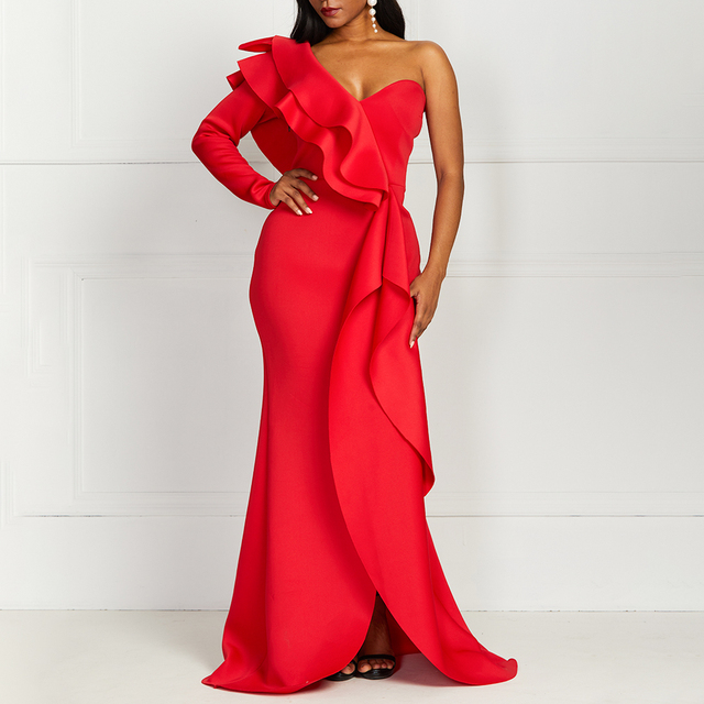 African Style Elegant Party Sexy Vintage Women Long Dresses Big Size One Shoulder Strapless Split Ruffles Female Maxi Red Dress