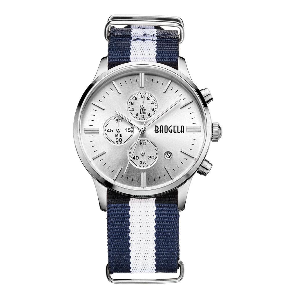 купить BAOGELA Top Luxury Brand Men Watches zegarki meskie Sports Analog Quartz WristWatch Classic nylon Men watch relogio masculino по цене 1831.17 рублей