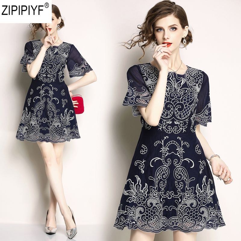 Summer Vintag dress New short sleeve lace a-line dress casual Printing o-neck high waist above knee dress vestidos de festaC1306