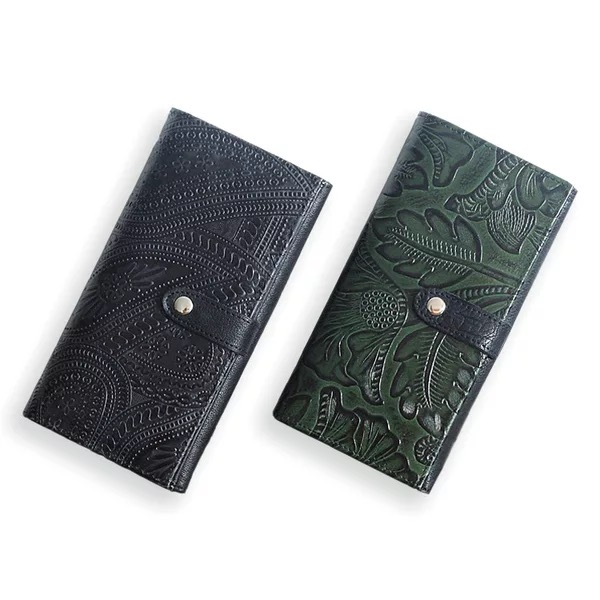 5d2c4ba829a Vintage Embossed Designer Genuine Cow Leather Women's Long Bifold Wallet  Dark Green Lady Clutch Purse Female Card Holder Wallet