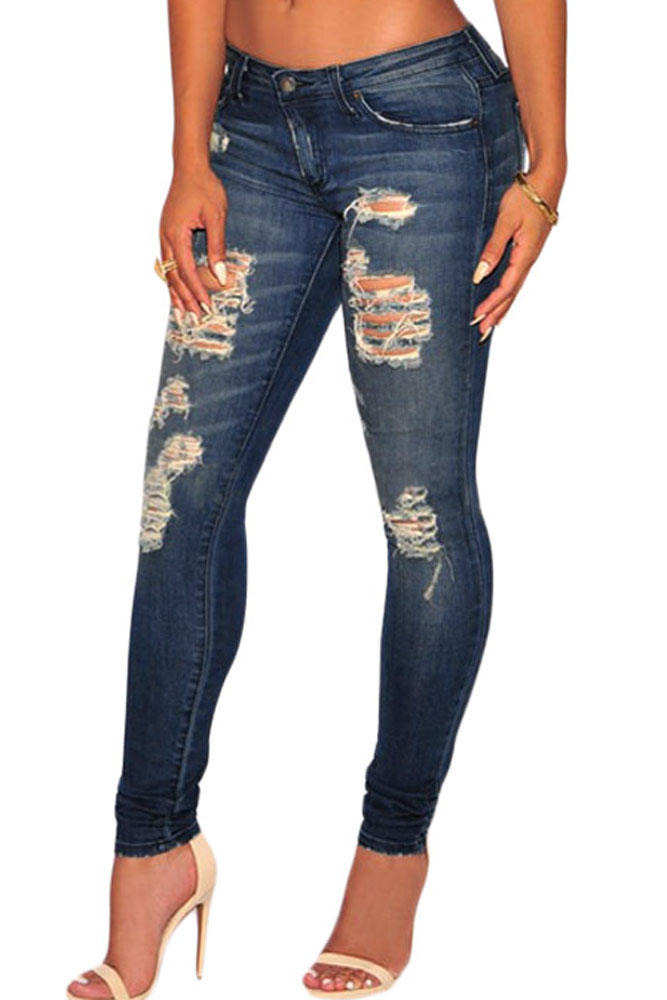 2016 Plus Size Low rise Dark Sandblast Wash Denim Destroyed Skinny Jeans Distressed Sculpt Stretchy Butt