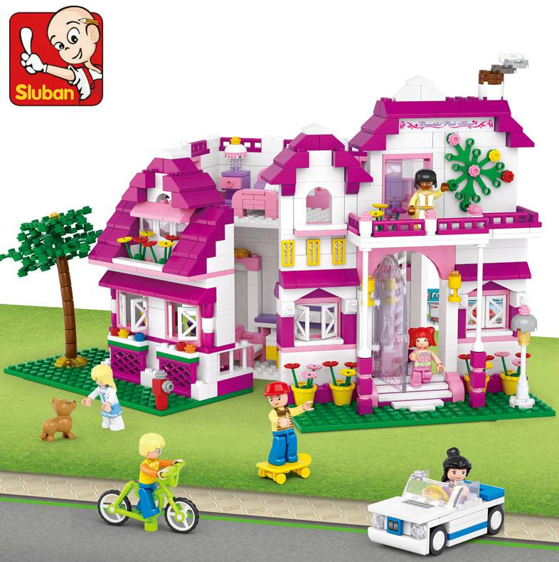 0536 SLUBAN Girl Friends Sunshine Villa Model Building Blocks Classic Enlighten DIY Figure Toys For Children Compatible Legoe decool 3117 city creator 3 in 1 vacation getaways model building blocks enlighten diy figure toys for children compatible legoe