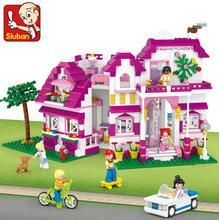 0536 SLUBAN Girl Friends Sunshine Villa Model Building Blocks Classic Enlighten DIY Figure Toys For Children Compatible Legoe