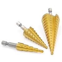 3pcs 4 12 20 32mm Large HSS Steel Step Cone Cut Set Drill Tools Titanium Drill