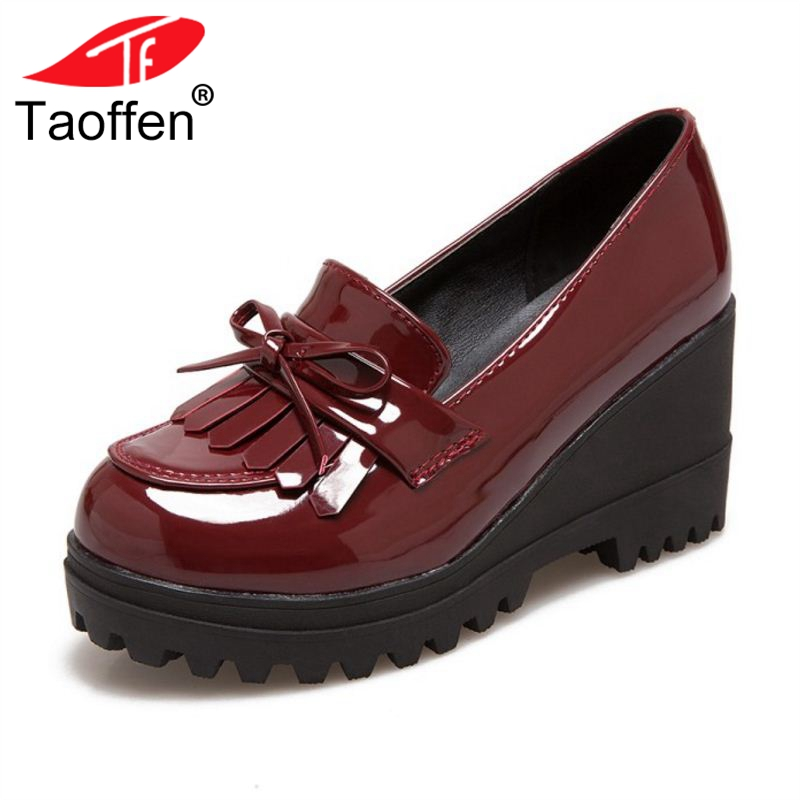 TAOFFEN גודל 33-43 נשים משאבות Bowknot להחליק על גדילים טריזי אופנה בציר נשים נעלי חג המפלגה הנעלה
