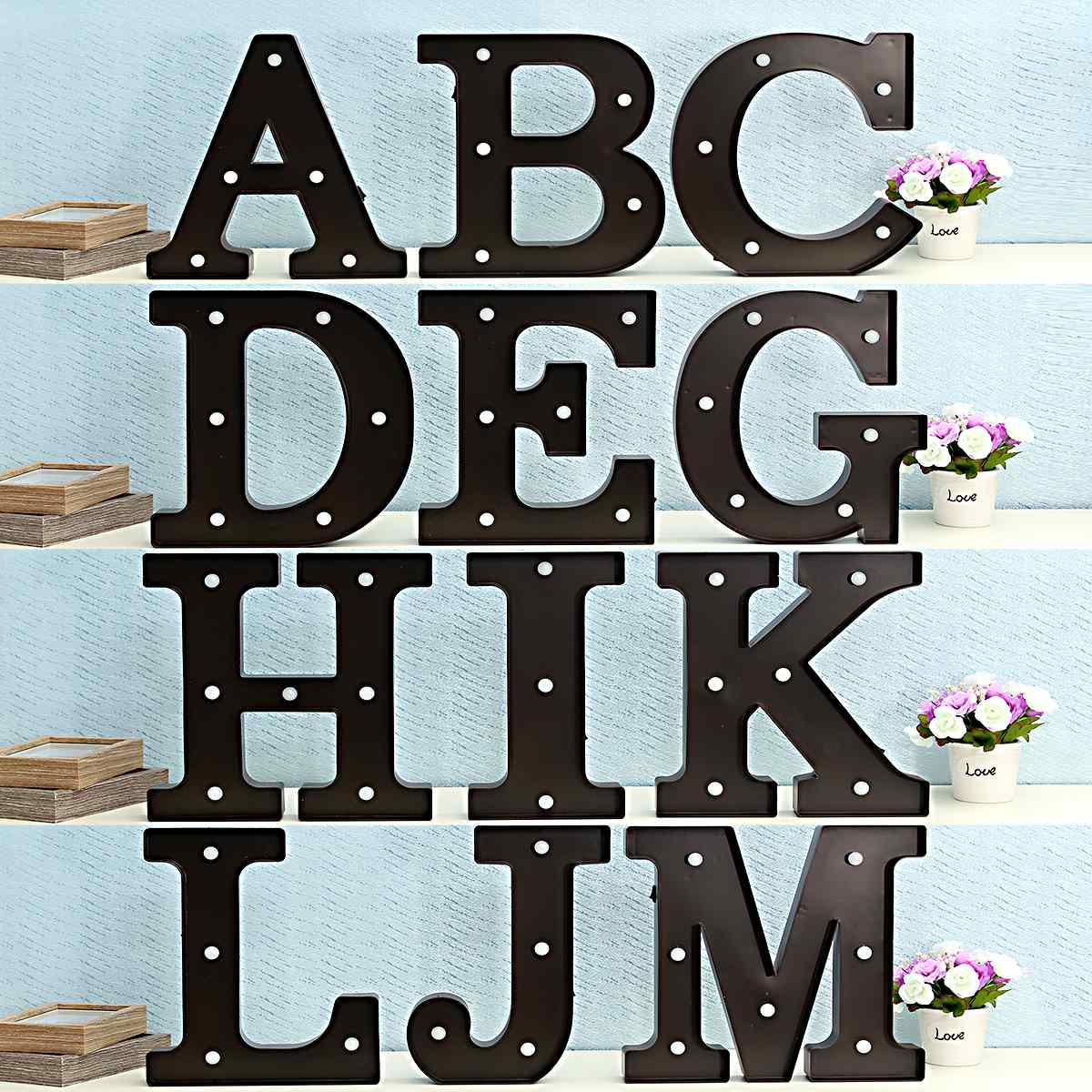 led night light lamp kids marquee letter light vintage alphabet circus style light up christmas decor - Marquee Letter Lights