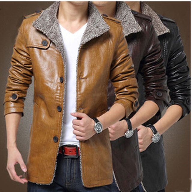 2016 New Male Pu Winter Thickening Windbreak Waterproof Warm Fur Trench Plus Size Stand Collar M-3XL Mens Leather Jackets Coats