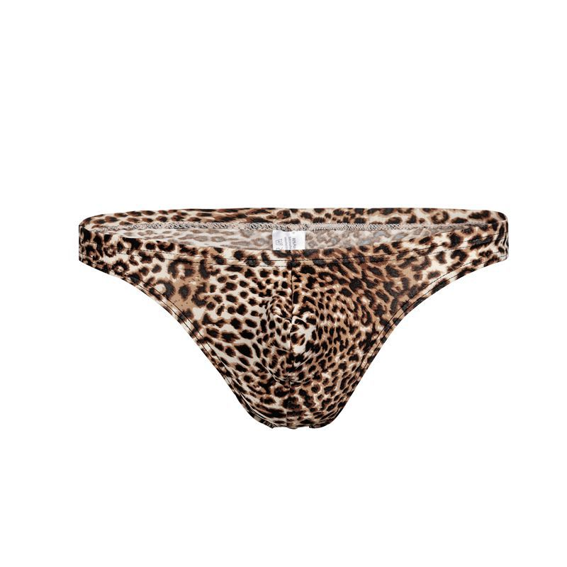Leopard G String Thongs Men Bulge Mens Underwear Penis Pouch <font><b>Sexy</b></font> <font><b>Gay</b></font> <font><b>Lingerie</b></font> T Back Bikini Swimwear Panties Low Rise XXXL image