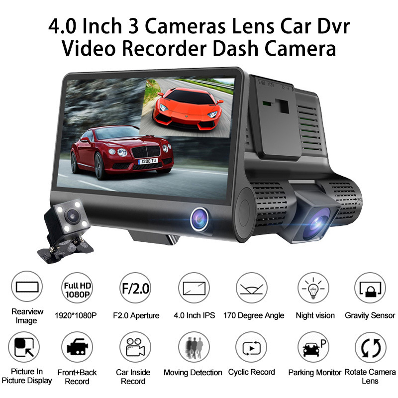Car DVR Video-Recorder Rearview-Camera Dash-Cam Auto-Registrator-Dvrs Dual-Lens 3