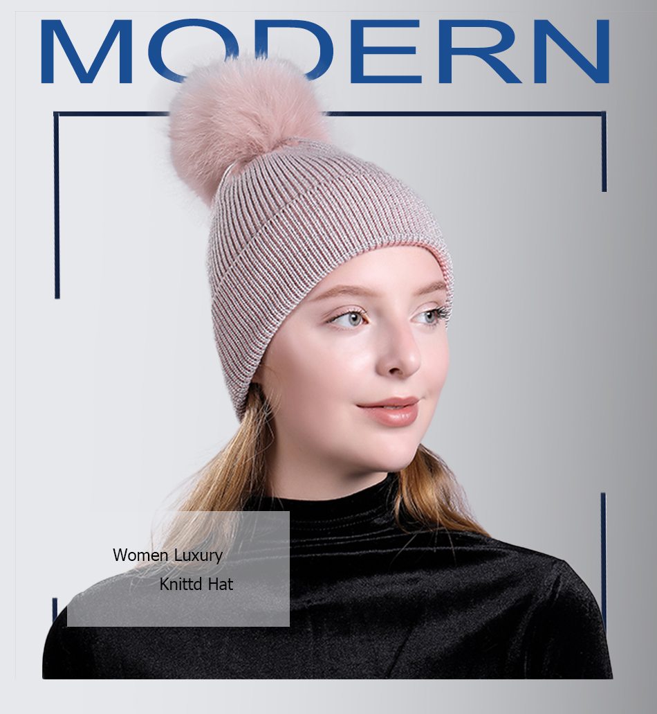 FS Real Fur Pompom Hat Cashmere Knit Winter Hats For Women Solid S... 32b0428a8822