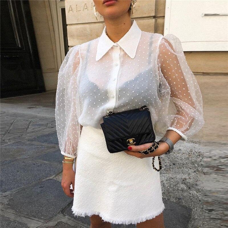 Feminino floral bordado malha sheer see-through colheita top camisas blusa 3/4 puff manga polka dot solto magro blusa macio outwear