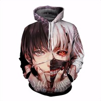 Classic Anime Tokyo Ghoul 3d Hoodies 2017 Autumn New Fashion Hoodie Tokyo Ghoul Harajuku Hip Hop