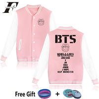 2017 Hit Hop Kpop BTS Kpop Pink Baseball Jackets Women Men Winter Bomber Jackets And Coats