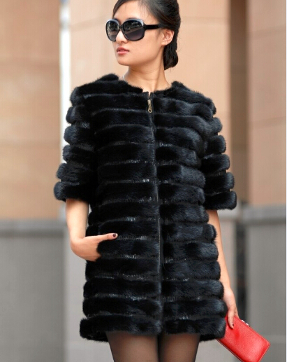 new 2017 simple Brief Style Middle aged Womens Genuine mink fur coats jacktes , Plush luxury Mink fur outerwear