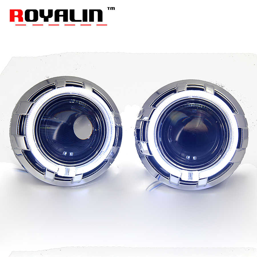 ROYALIN H4 Car Styling Bi Xenon Lens for Koito Q5 Projector Headlight Lenses 3.0 inch Full Metal w/ LED Angel Eyes Rings White