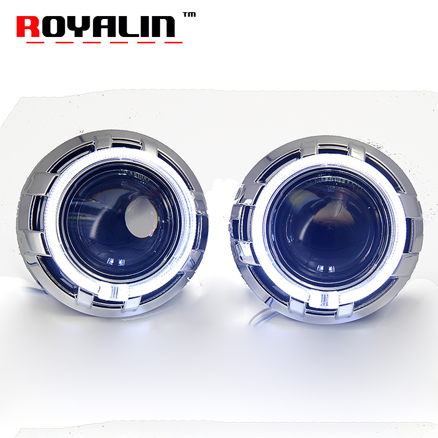 ROYALIN H4 Car Styling Bi Xenon Lens for Koito Q5 Projector Headlight Lenses 3.0 inch Full Metal w/ LED Angel Eyes Rings White koito 471