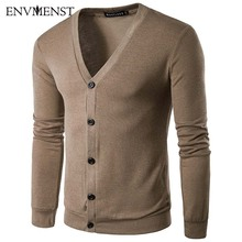 Envmenst Men Sweater Male Causal Outerwear Cardigan 2017 Autumn Man Single Breasted V-neck Cardigan Sweater