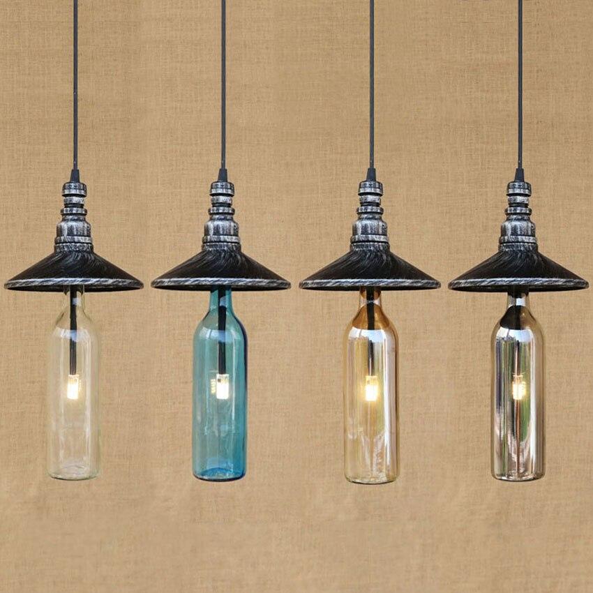 Nordic industrial ретро подвесные светильники, 3 Вт G4 бутылки из цветного стекла абажур подвесные светильники для лофт Склад ресторан бар
