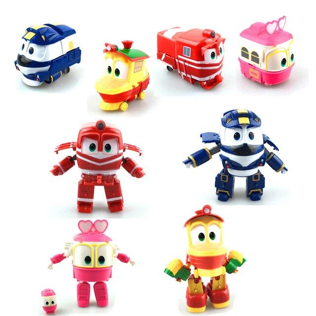 New Arrival 4pcs/set Robot Trains Transformation Action Figure Toys 13cm Kay Alf Dynamic Train Family Deformation Train Cars