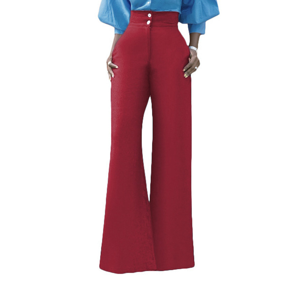 Clocolor Women   Wide     Leg     Pants   Fashion Plain Blue Red Black High Waist Spring Autumn Office Ladies Casual Loose Female Trousers