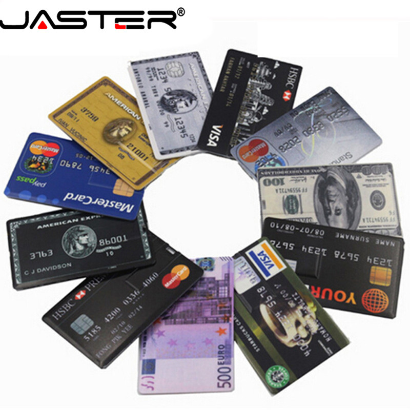 JASTER Waterproof Super Slim Credit Card USB 2.0 Flash Drive 64GB Pendrive 4GB 8GB 16GB 32GB Bank Card Model Memory Stick U Disk
