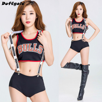 2017 New Fashion Girl Crop Tops and Short Pants Nightclub Camisole Women Ballroom Sexy Stage Costume Dance Wear Duftgold moschino