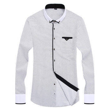 2018 Men Fashion Casual Long Sleeved Printed shirt Slim Fit Male Social Business Dress Shirt Brand Men Clothing Soft Comfortable 1