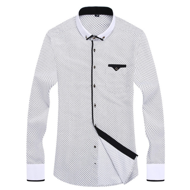 2018 Men Fashion Casual Long Sleeved Printed shirt Slim Fit Male Social Business Dress Shirt Brand Men Clothing Soft Comfortable 1