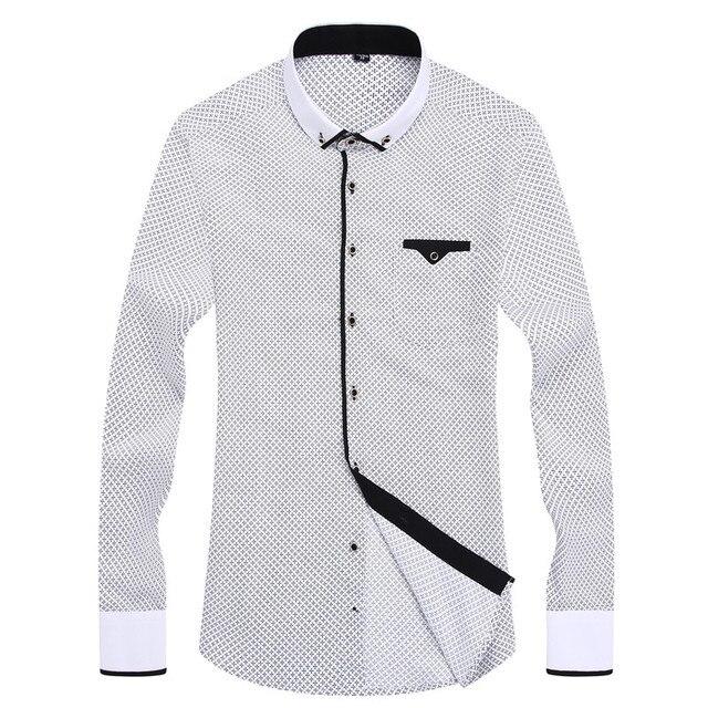 Men Fashion Casual Long Sleeved Printed Shirt Slim Fit