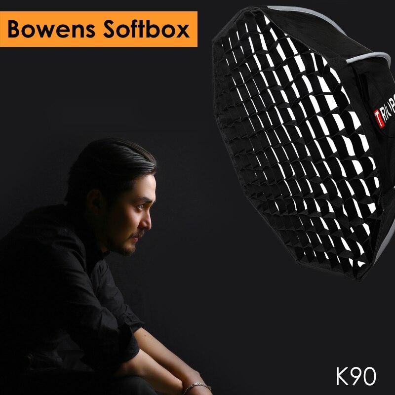 Triopo 90 см фото Portabe Softbox w/Сотовый сетки K90 Bowens восьмиугольный зонтик открытый софтбокс для Godox Jinbei стробоскоп
