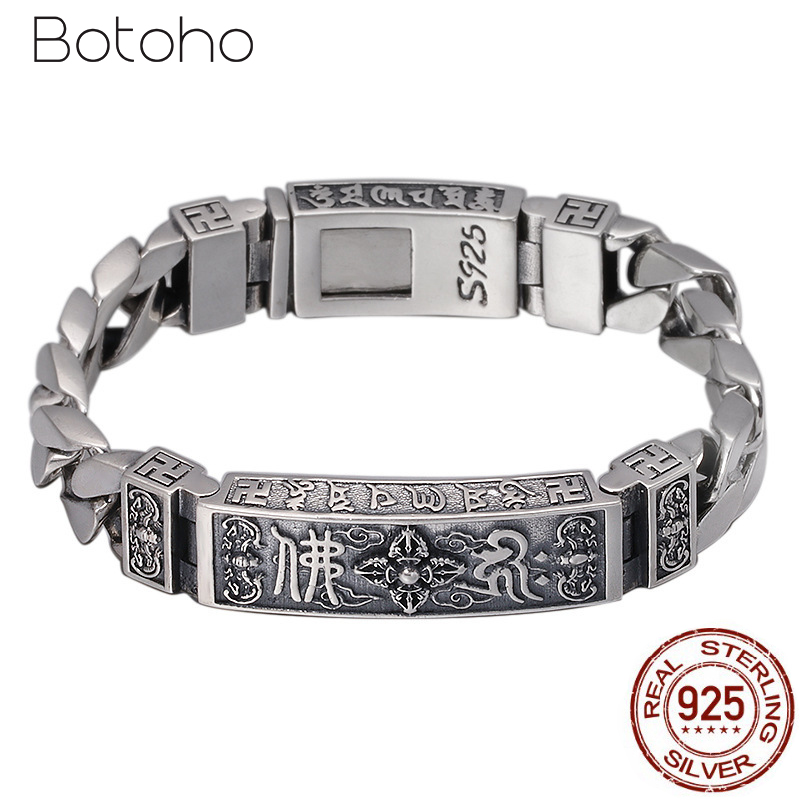 100% 925 Sterling Silver Tibetan Mantra Men Bracelet Width 12mm Link Chain Six Words Vajry Pestle Engraved Prayer Buddha Jewelry 925 silver buddha rings for men women jewelry six words of mantra 100