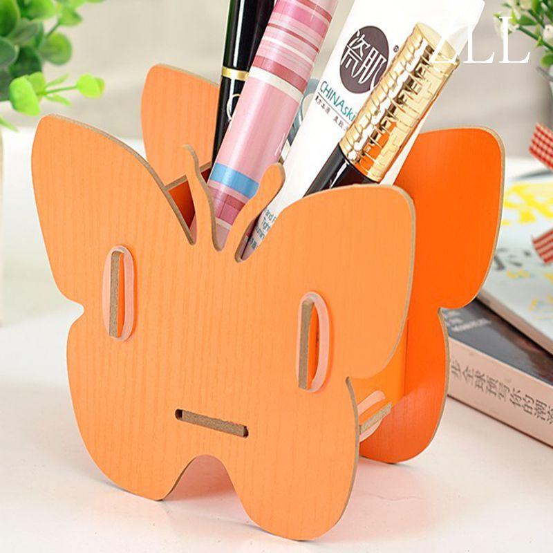 1pcs Colorful Butterfly-shaped DIY Desktop Wooden Cosmetic Makeup Storage Box