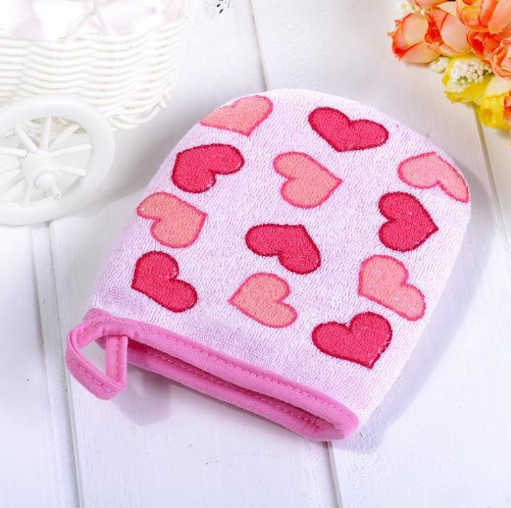 3 Colors Heart Print Baby Care Soft Cotton Bath & Shower Products Infant Kids Bath Brushes Wash Towel 10pcs/lot mix