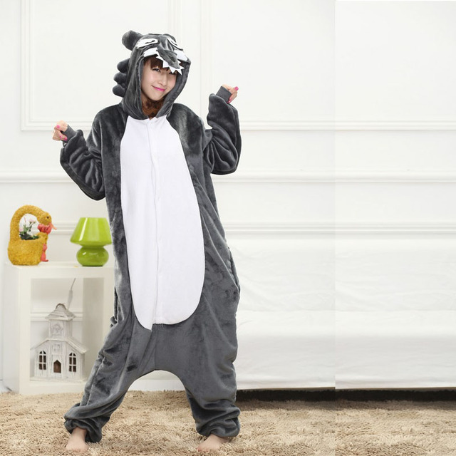 37ffdc085 Fancy Grey Wolf Kigurumi Pajama Animal Adult Onesies For Women ...
