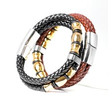 2017 Top Fashion Brand Genuine Leather Men S Bracelets Por Knight Courage Stainless Steel Charm