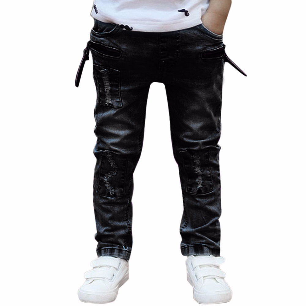 Children Baby Boy Jeans 2017 New Cool Ripped Jeans Fashion Elastic Slim Denim Long Pants Black Kids Casual Skinny Jeans for 1-6Y fashion hi street mens ripped denim joggers black distressed jeans pants streetwear slim fit straight biker trousers size 28 42