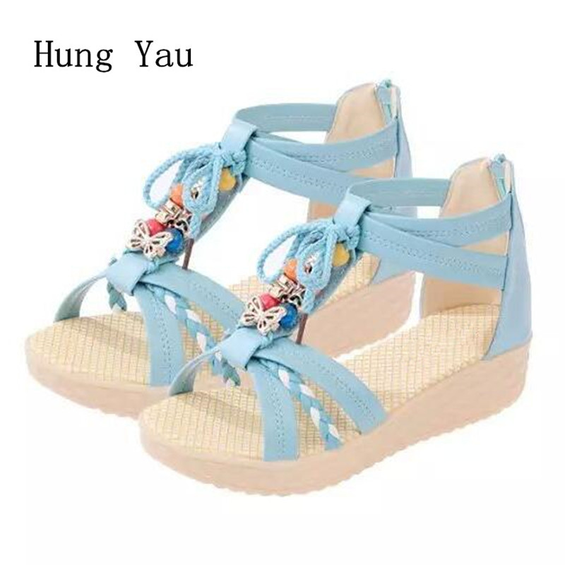 Women Sandals Flip Flops 2018 New Summer Fashion Gladiator Wedges Shoes Woman Slides Beautiful String Bead Lady Casual Shoes wastyx new 2017 summer fashion cowboy women sandals casual women flip flops shoes wedges shoes woman