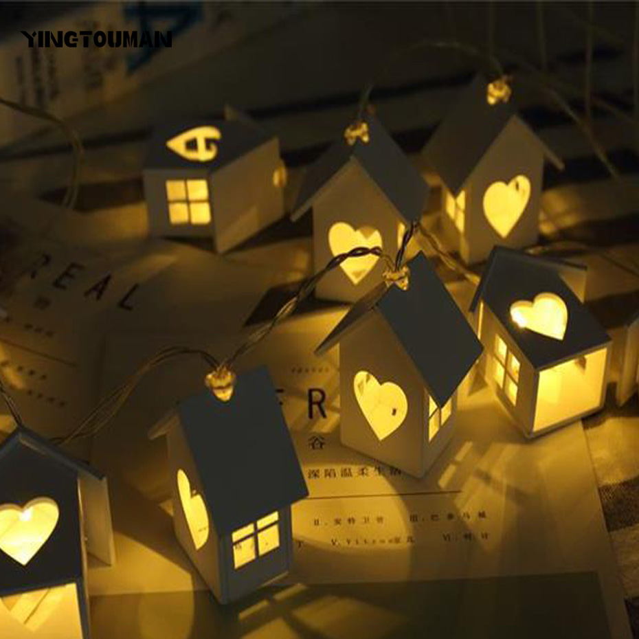 YINGTOUMAN 10LED Wood House Type LED Battery Lamp Christmas String Lights Holiday Party Decoration Light Garden Light 1.5m
