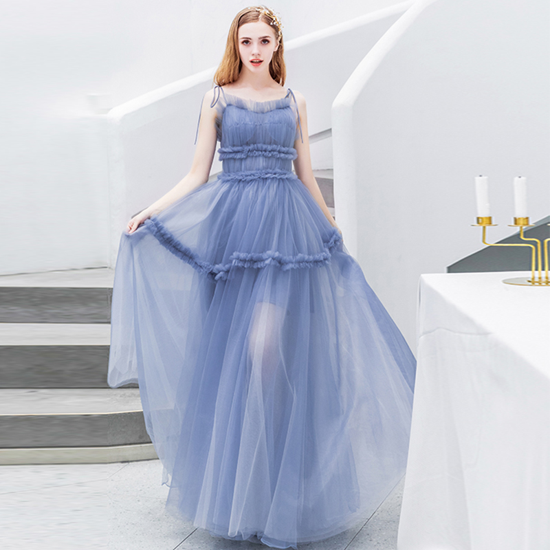Fairy Rococo Style Long   Prom     Dresses   Pleats Tulle A-line Spaghetti Straps Light Blue Full Length Women Formal Party   Dresses