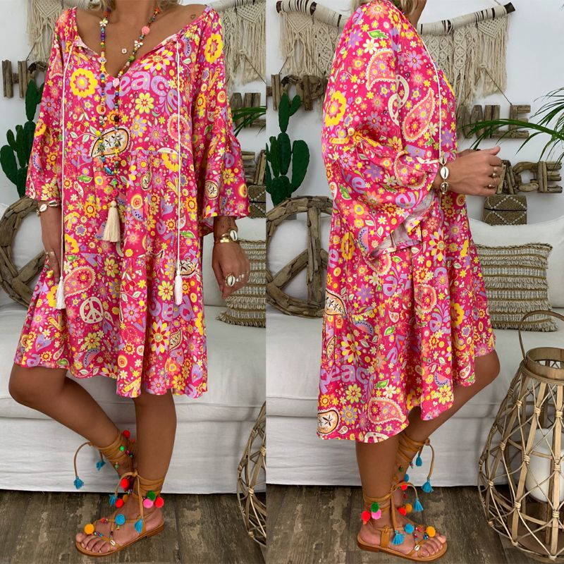 Summer Women Boho Floral Long Sleeve Dress Holiday Beach Shirt Dress Ladies Print Mini Dress Plus Size S-5XL 1