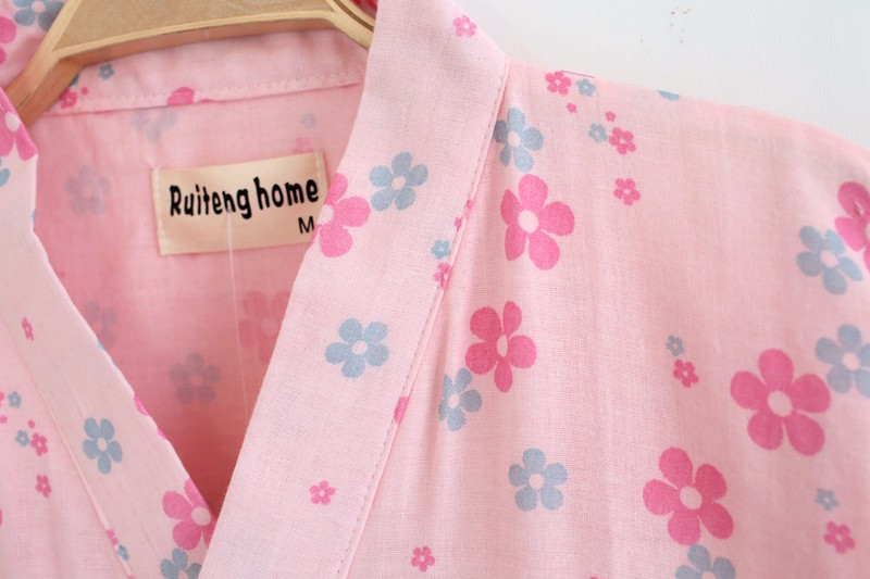 cotton gauze floral bathrobes for women summer