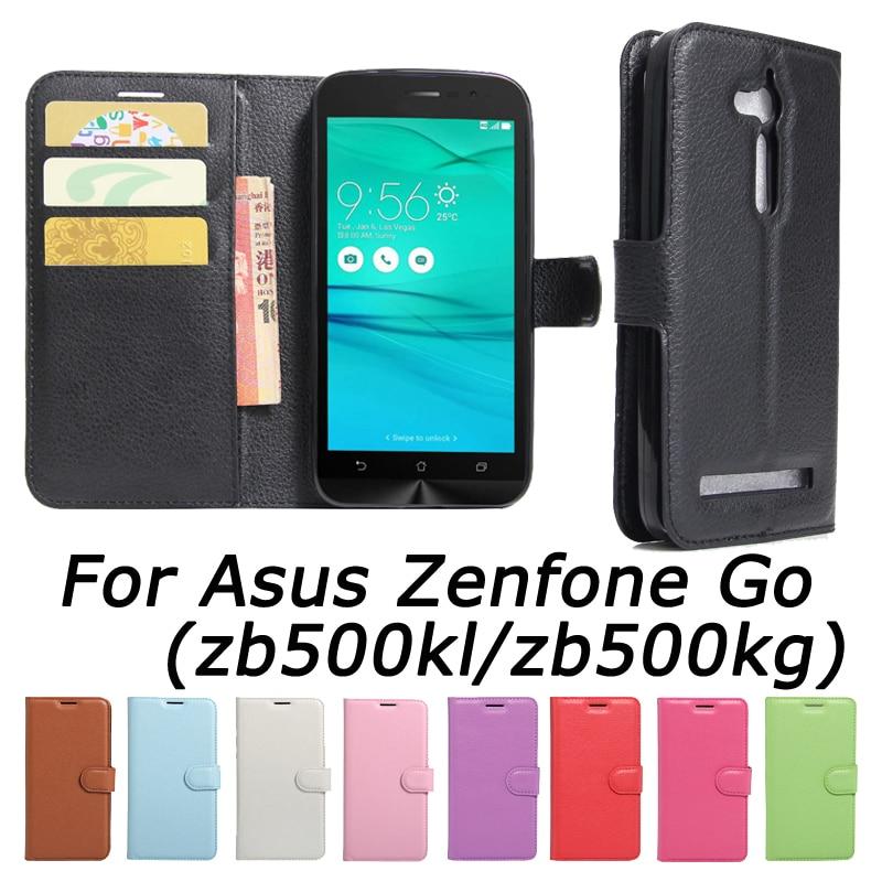 For Asus ZenFone Go ZB500KL ZB500KG PU-skinn bakdeksel For ZenFone Go ZB500KL Veske Flip beskyttende telefonsaker