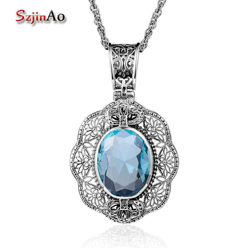Szjinao Wholesale Real 925 Sterling Silver Jewelry Make Up Aquamarine Healing Necklaces & Pendants Women Valentines Day Gift