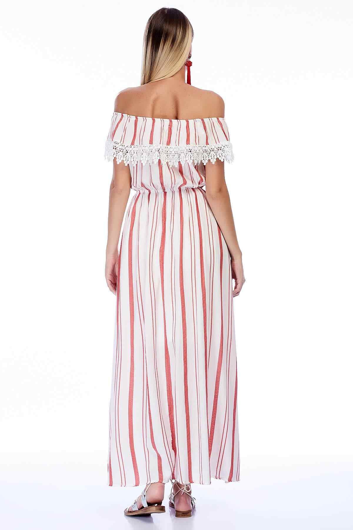Coton humeur femmes ekru-kırmızoft tissu épais Çizgi Madonna cou lacé longue robe 82909831