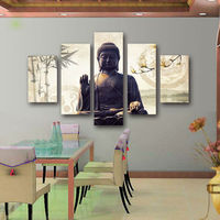 Artryst 5 Piece Canvas Art Modern Printed Buddha Painting Picture Buddha Paintings Wall Canvas For Living Room Picture Print