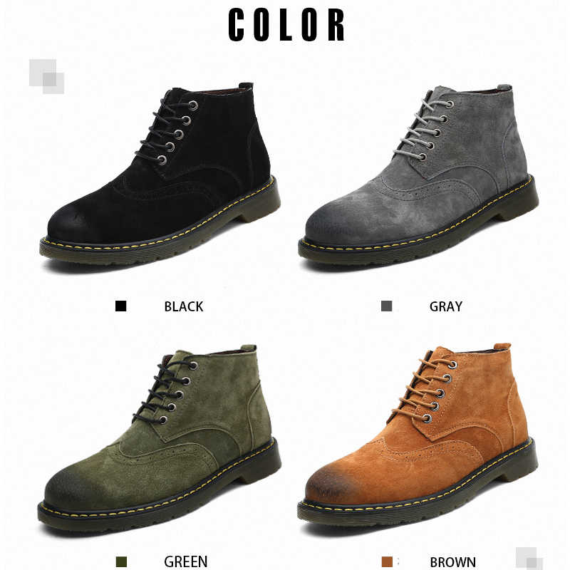 52841c3aff 2019 Genuine Leather Boots Men High Top Black Brown Men Boots Dr Martins  Casual Ankle Tactical Work Shoes Plus Size 38-47